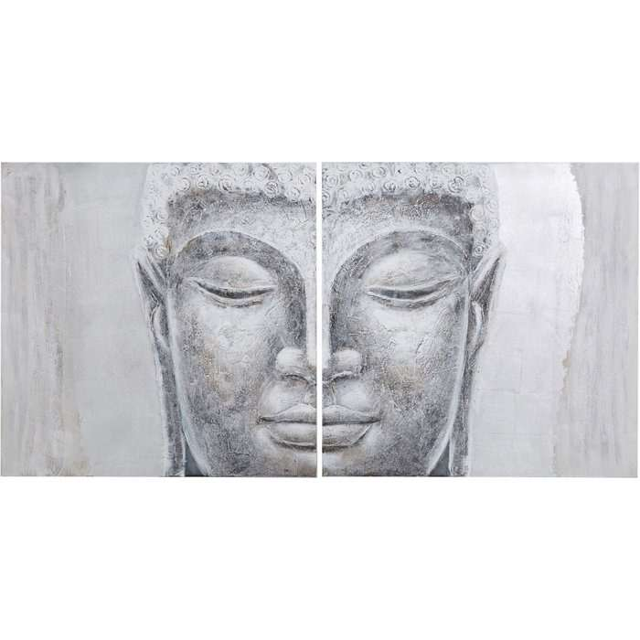 Hand-painted Diptych Canvas in Silver