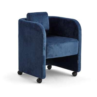 Armchair COMFY, with wheels, velvet fabric, blue