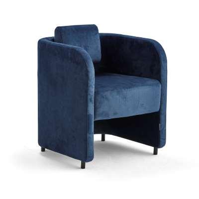 Armchair COMFY, with legs, velvet fabric, blue