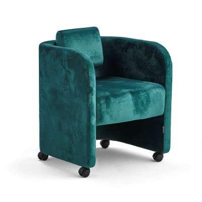 Armchair COMFY, with wheels, velvet fabric, emerald