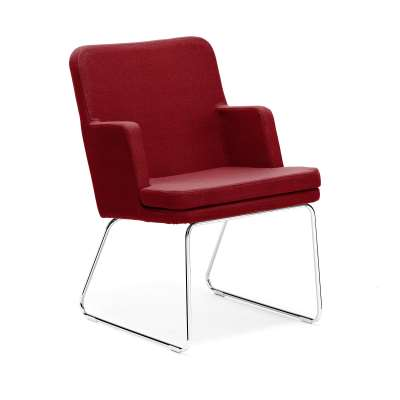 Armchair EASY, chrome skid frame, Repetto fabric, rusty red