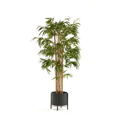 Bamboo artificial plant, H 1500 mm, incl. black steel pot on stand