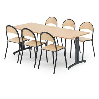 Big canteen package deal, 1 table + 6 chairs, beech, black