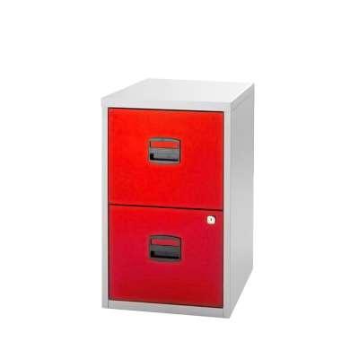 Bisley Soho A4 filing cabinet, 2 drawer, red