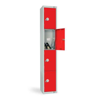 Charging locker, add-on unit, 1800x300x330 mm, 4 door, red