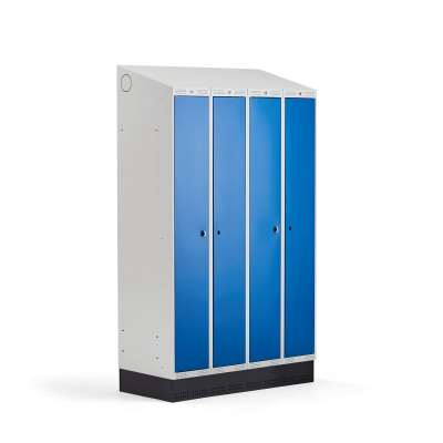 Clean-dirty locker CLASSIC COMBO, skirting, 4 doors, 2050x1200x550mm, blue