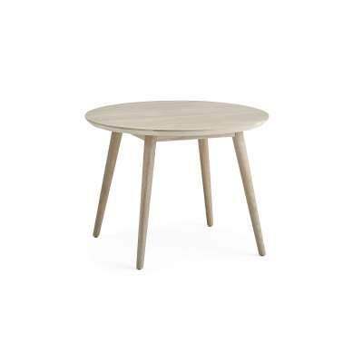 Coffee table CITY, Ø 700 mm, white stained oak