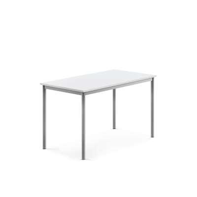 Desk SONITUS, 1200x700x720 mm, white laminate, alu grey