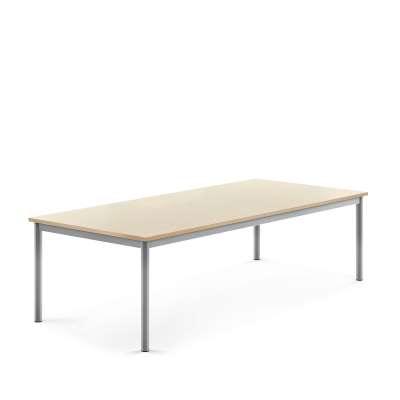 Desk SONITUS, 1800x800x500 mm, birch laminate, alu grey