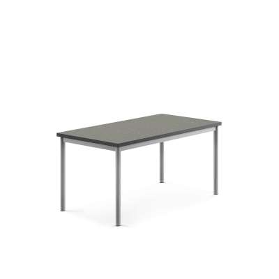 Desk SONITUS, 1200x700x600 mm, dark grey linoleum, alu grey