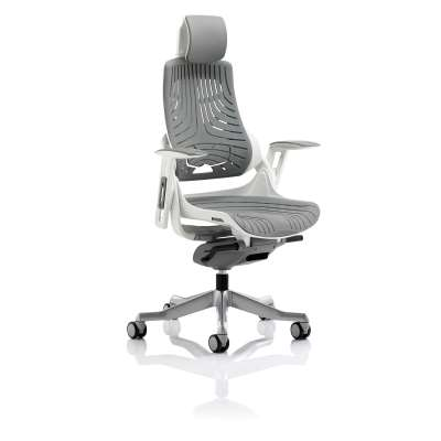 Ergonomic office chair ASHFORD with headrest, grey