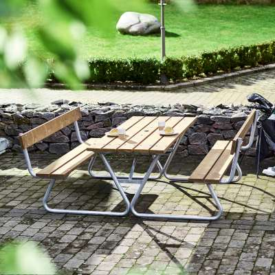Extra long table with bench PICNIC, with backrest, 1800 mm, brown