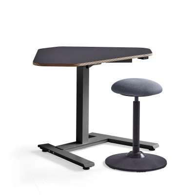 Furniture set NOVUS + ACTON, 1 black corner desk and 1 stool