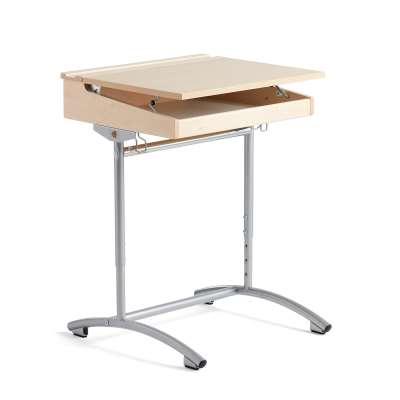 Height-adjustable student desk ACCESS, birch, birch laminate