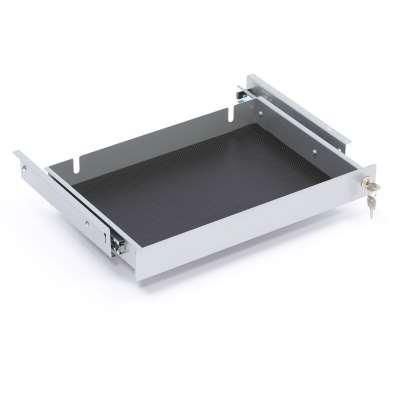Lockable laptop drawer, 490x305x60mm, alu grey