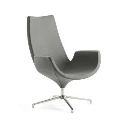 Lounge chair ENJOY, high back, dark grey