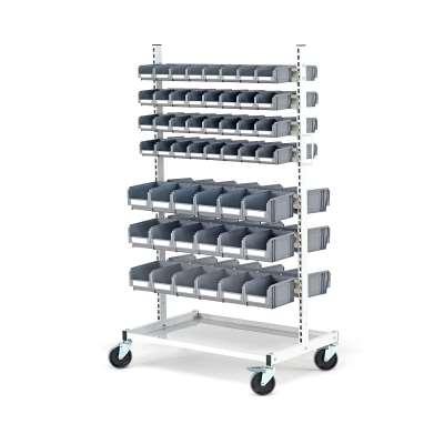 Mobile storage bin rack, 100 bins, 1625x900x600 mm