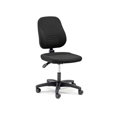 Office chair LEEDS with moulded back and seat, black fabric