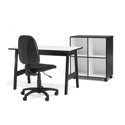 Package deal: Desk NOMAD + Office chair DOVER + Mobile storage unit NOMAD
