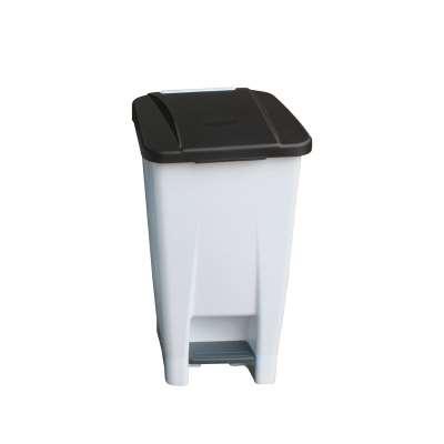 Plastic pedal bin, 680x340x440 mm, 60 L, white, black lid