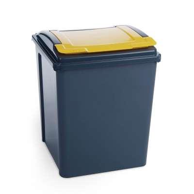 Recycling bin, 390x400x510 mm, 50 L, yellow lid