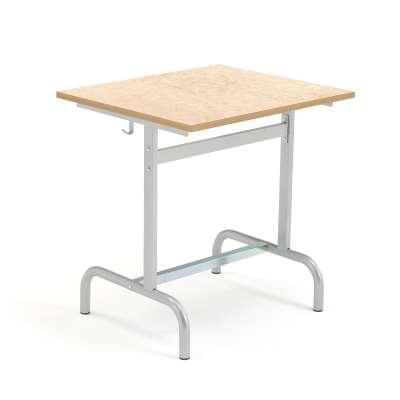 School desk 180, silver, beige linoleum
