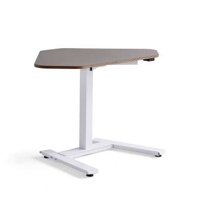 Standing corner desk NOVUS, 1200x750 mm, white frame, clay grey table top