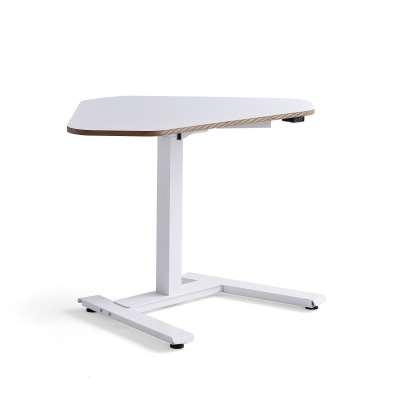 Standing corner desk NOVUS, 1200x750 mm, white frame, white table top