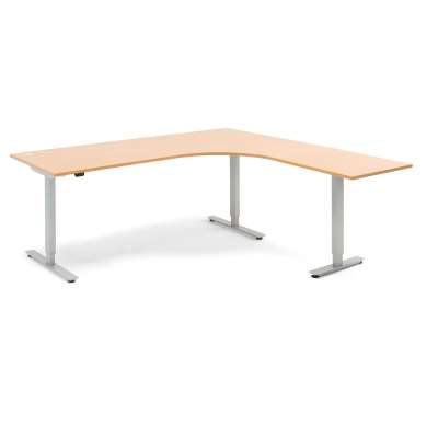 Standing desk FLEXUS, L shaped, 2000x2000 mm, beech laminate