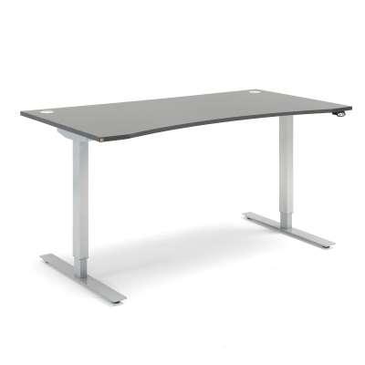 Standing desk FLEXUS, wave, 1600x800 mm, grey laminate