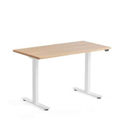 Standing desk MODULUS, 1200x600 mm, white frame, oak