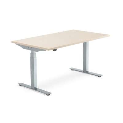 Standing desk MODULUS, 1400x800 mm, silver frame, birch