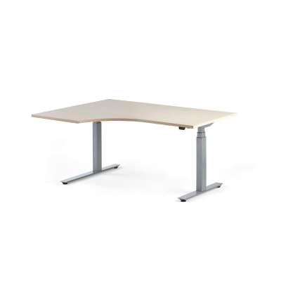 Standing desk MODULUS, ergonomic, 1600x1200 mm, silver frame, birch