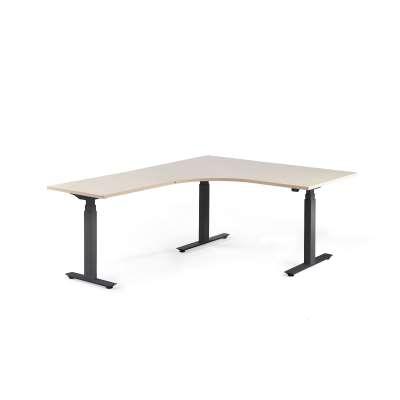 Standing desk MODULUS, L-shaped, 1600x2000 mm, black frame, birch
