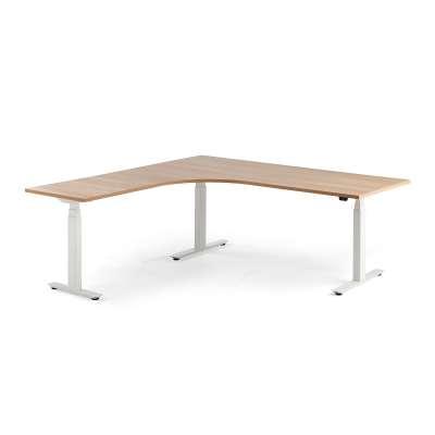 Standing desk MODULUS, L-shaped, 2000x2000 mm, white frame, oak