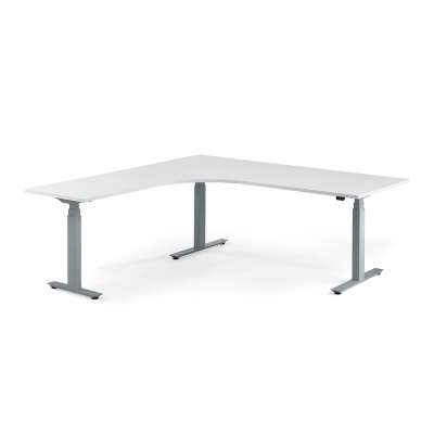 Standing desk MODULUS, L-shaped, 2000x2000 mm, silver frame, white