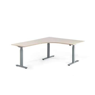 Standing desk MODULUS, L-shaped, 1600x2000 mm, silver frame, birch