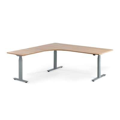 Standing desk MODULUS, L-shaped, 2000x2000 mm, silver frame, oak