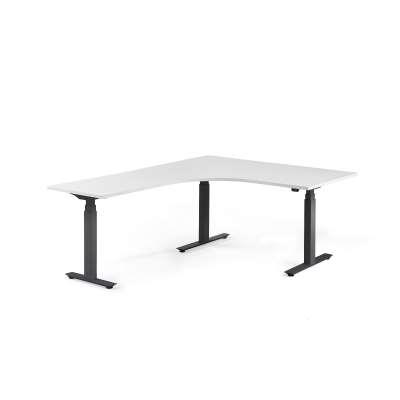 Standing desk MODULUS, L-shaped, 1600x2000 mm, black frame, white
