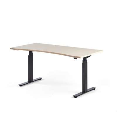 Standing desk MODULUS, wave, 1600x800 mm, black frame, birch