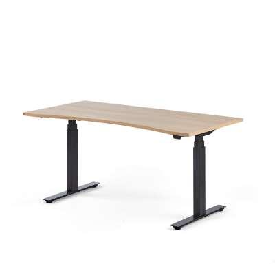 Standing desk MODULUS, wave, 1600x800 mm, black frame, oak