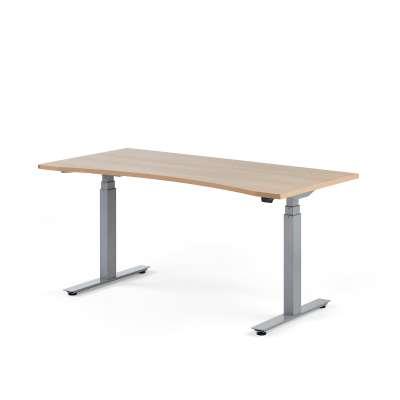 Standing desk MODULUS, wave, 1600x800 mm, silver frame, oak