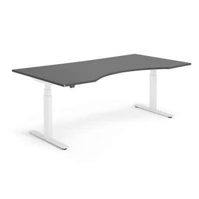 Standing desk MODULUS, wave, 2000x1000 mm, white frame, black