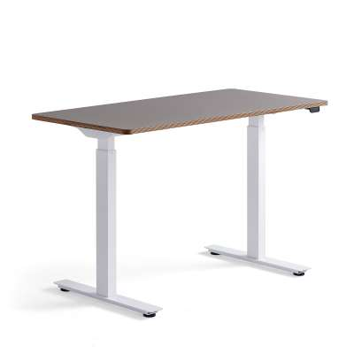 Standing desk NOVUS, 1200x600 mm, white frame, clay grey table top