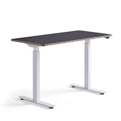 Standing desk NOVUS, 1200x600 mm, white frame, black table top