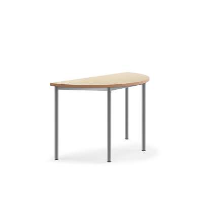 Table PAX, semi-circular, 1200x600x720 mm, beige linoleum, alu grey