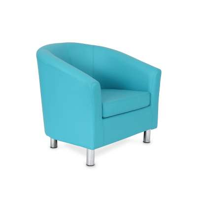 Tub chair JAZZ, metal feet, sky blue leather look