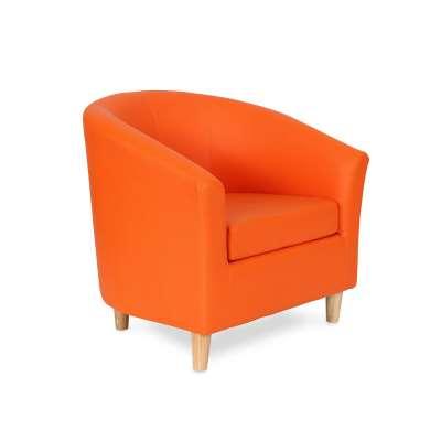 Tub chair JAZZ, wooden feet, orange leather look