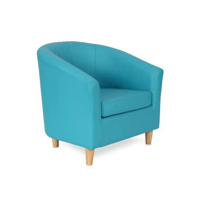 Tub chair JAZZ, wooden feet, sky blue leather look