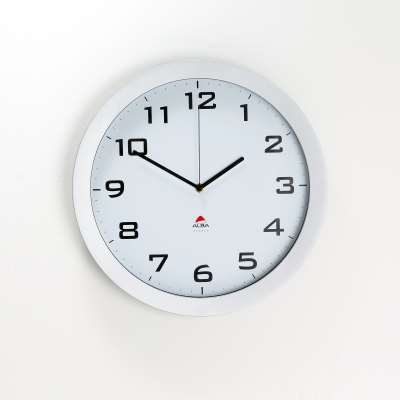 Wall clock, Ø 380 mm, white face, silver frame, silent running